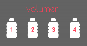 A grey graphic with bottles numbered 1-4