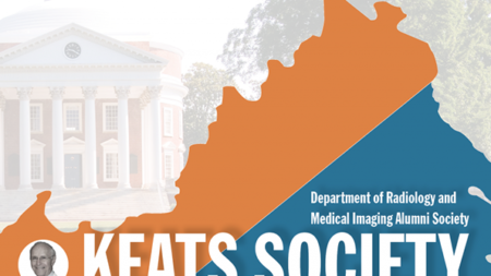 Keats Society Logo with blue and orange shape of Virginia and the Rotunda in background