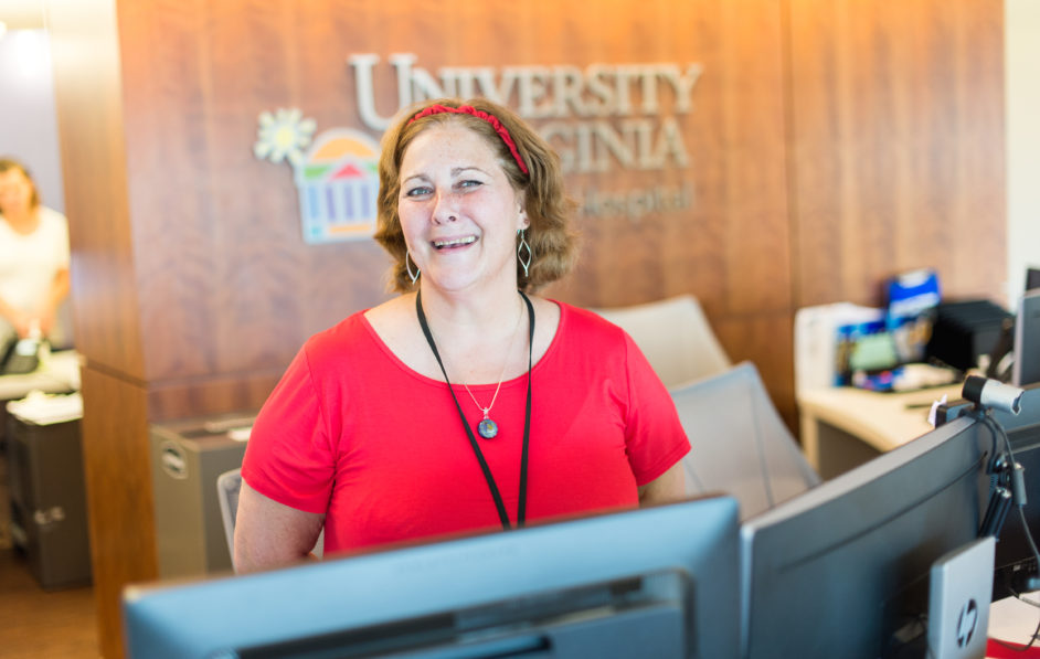 An Access Associate welcomes visitors and patients to UVA Children's