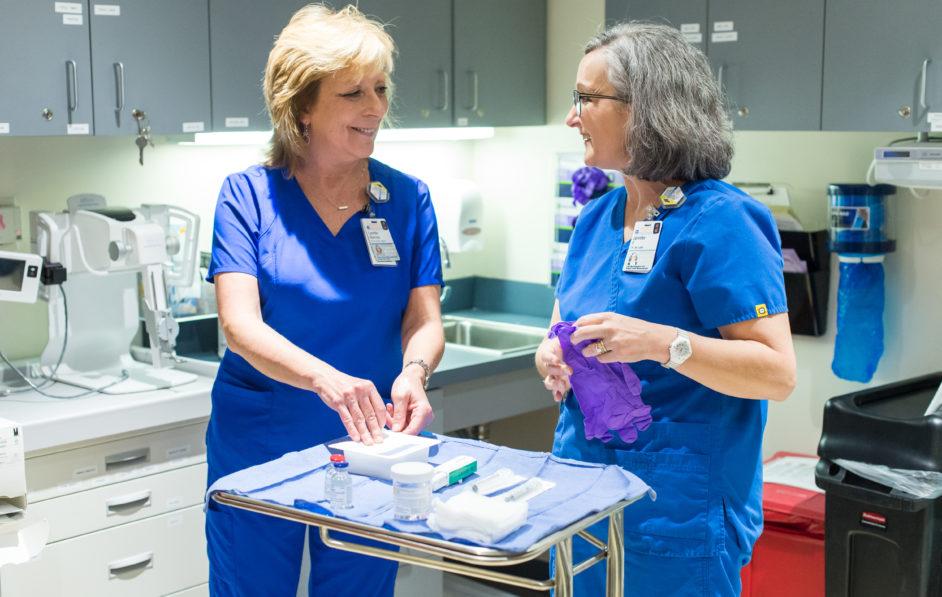 UVA Radiology nurses prepare for a procedure