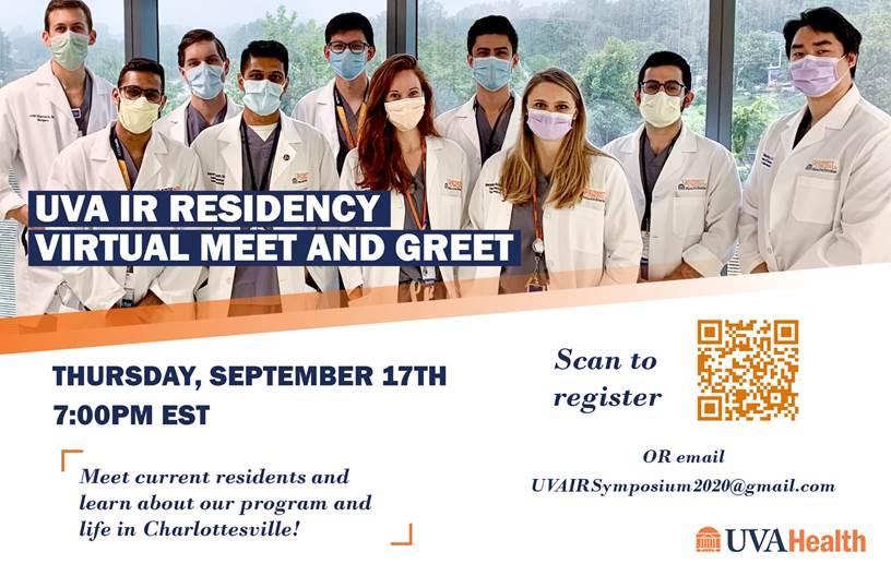 UVA Interventional Radiology Residency Virtual Meet and Greet flyer