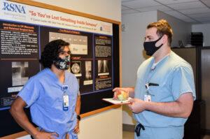 UVA Radiology resident Xavier Mohammed takes a break with a fellow resident