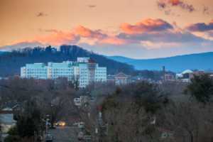 An early morning view of UVA Medical Center from across town