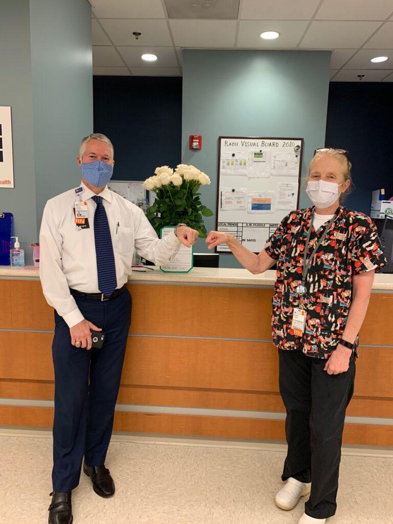 UVA Radiology COO James Carnes with retired nurse Martha Taylor
