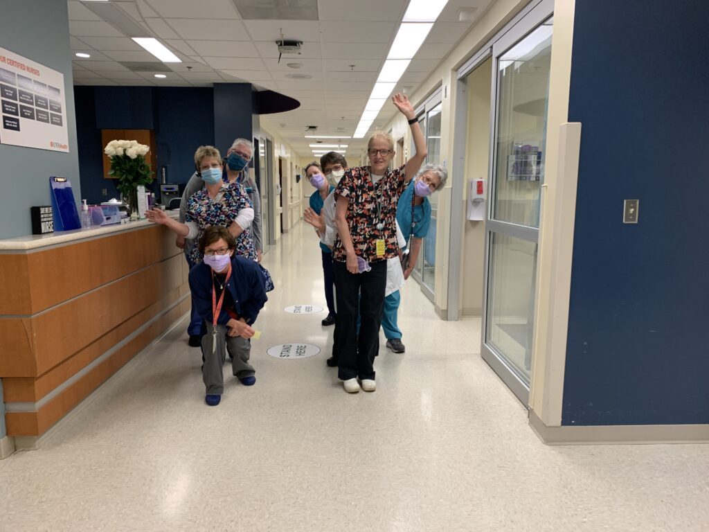 Retiring UVA Radiology nurse Martha Taylor poses with her nursing colleagues in the RADU