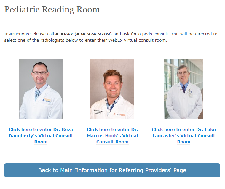 UVA Pediatric Virtual Reading Rooms on the intranet