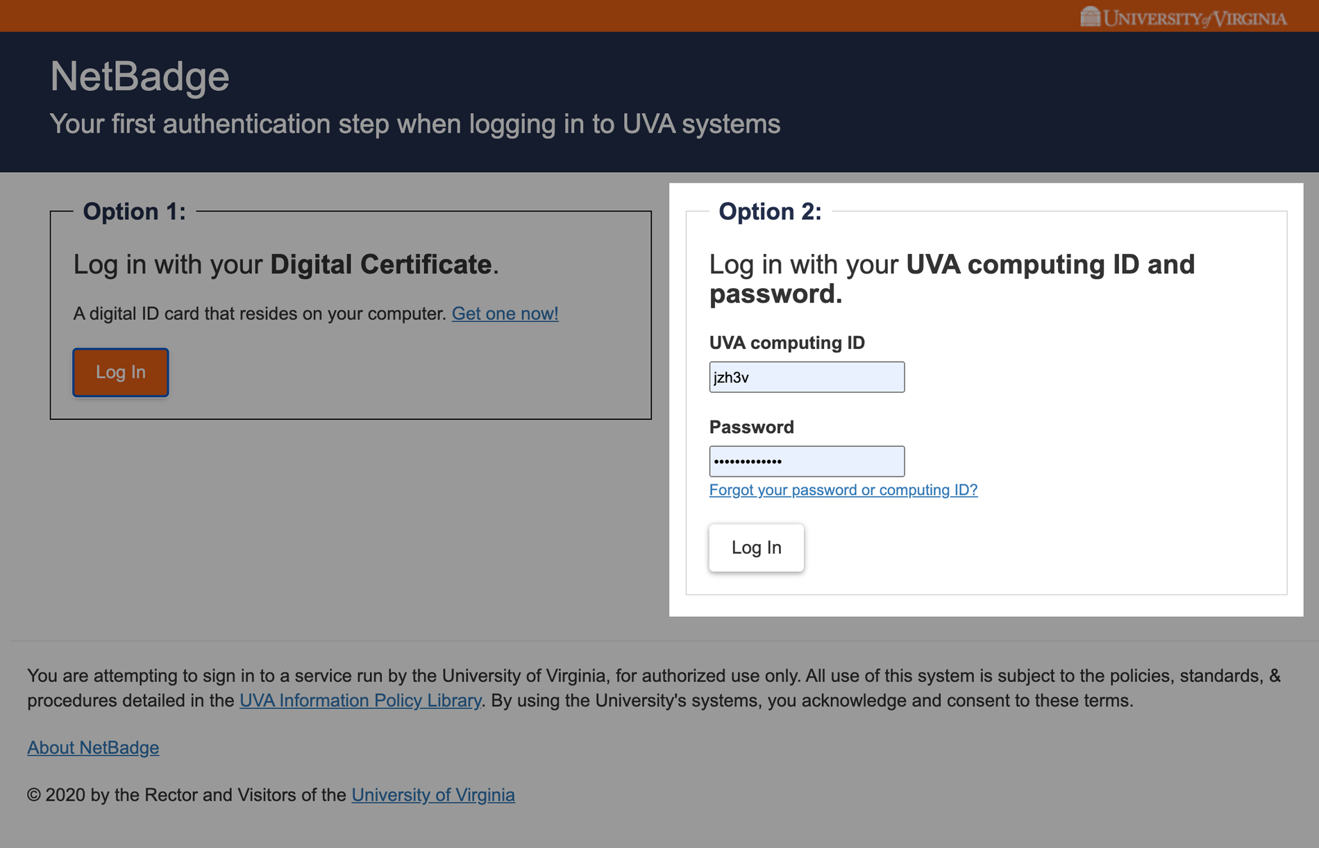 UVA NetBadge Computing ID login
