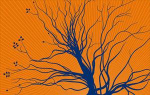 blue tree on orange background