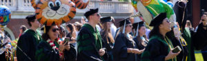 Group of 2019 School of Medicine Graduates walking down the UVA lawn