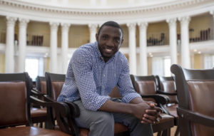Franck Azobou Tonleu sitting in UVA Rotunda