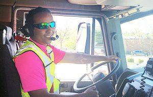 Tobi Addis, driving emergency vehicle